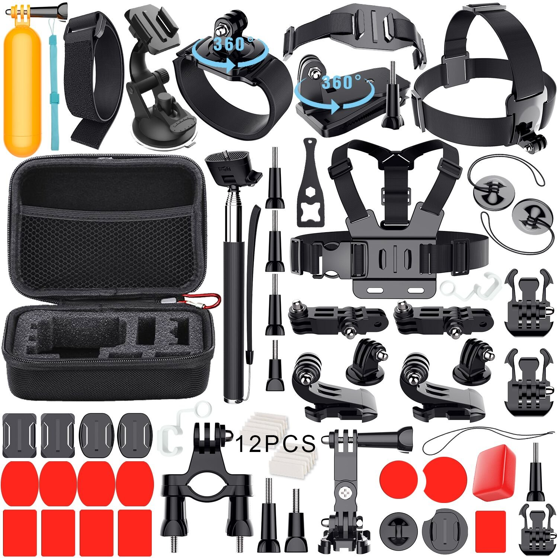 Leknes 54 in 1 Accessori Kit per GoPro Hero 5 4 3+ 3 2 1 Black Silver and SJCAM SJ4000 SJ5000 SJ6000 Action Camera Accessories per Lightdow/Xiaomi Yi/WiMiUS/DBPOWER