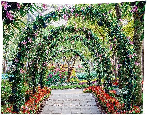 vipsung país decoración del hogar Mantel Flores Arcos con Camino en Plantas Ornamentales jardín Greenery romántica de Comedor Cocina Rectangular Mesa de Fotos: Amazon.es: Hogar