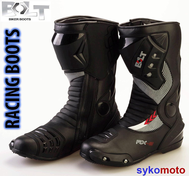 BOLT S12 DEPORTES PROTECCION MOTOCICLETA CARRERAS DESLIZADOR IMPERMEABLE NEGRO BOTAS (45 EU/11 UK) FM017