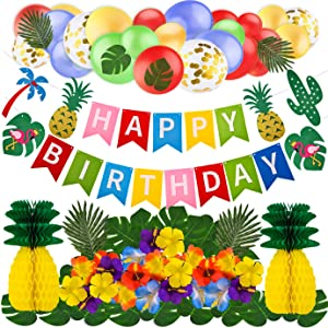 WXJ13 Tropical Party Decorations Hawaiian Flamingo Pineapple Decor Includes Birthday Banner, Tropical Palm Leaves, Sequin balloons, Hibiscus Flowers, Tissue Paper Pineapples