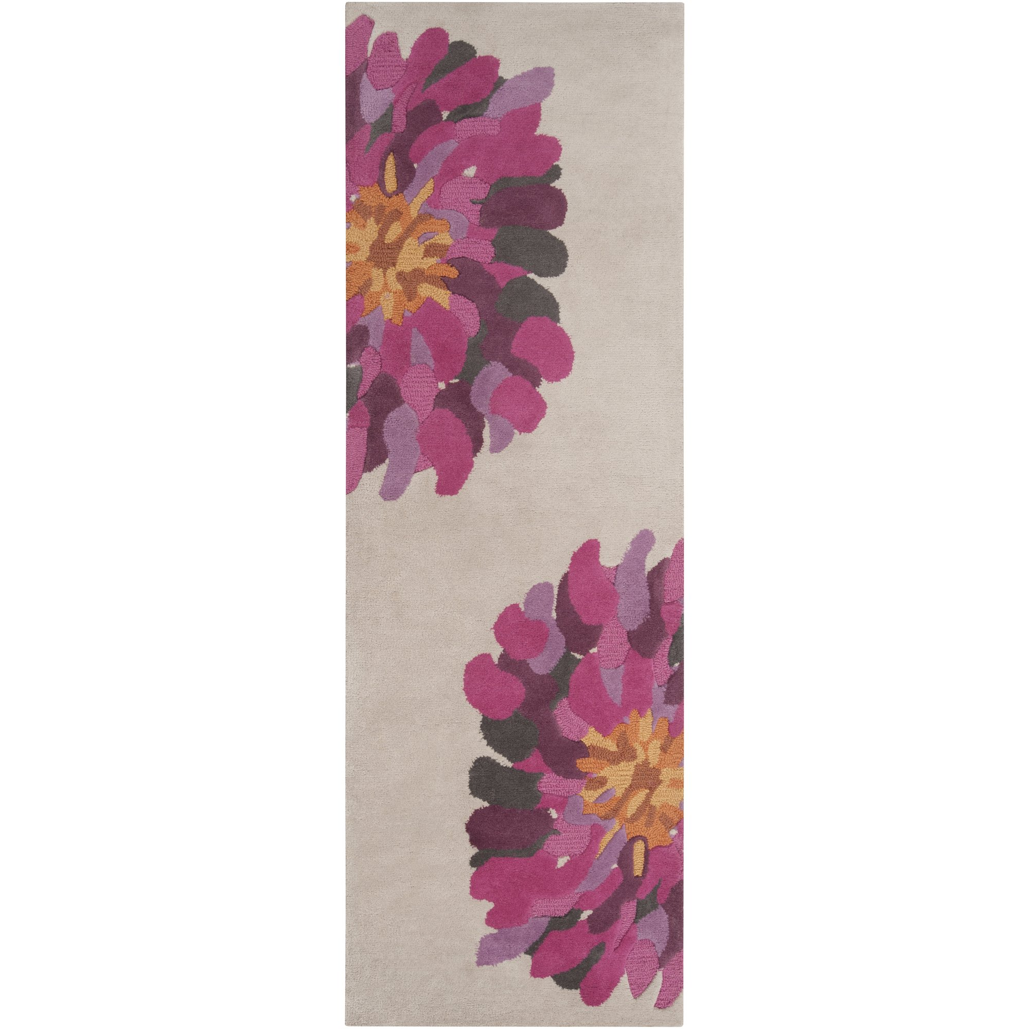 Surya Bombay BST-529 Contemporary Hand Tufted 100% New Zealand Wool Raspberry 2'6'' x 8' Floral Runner