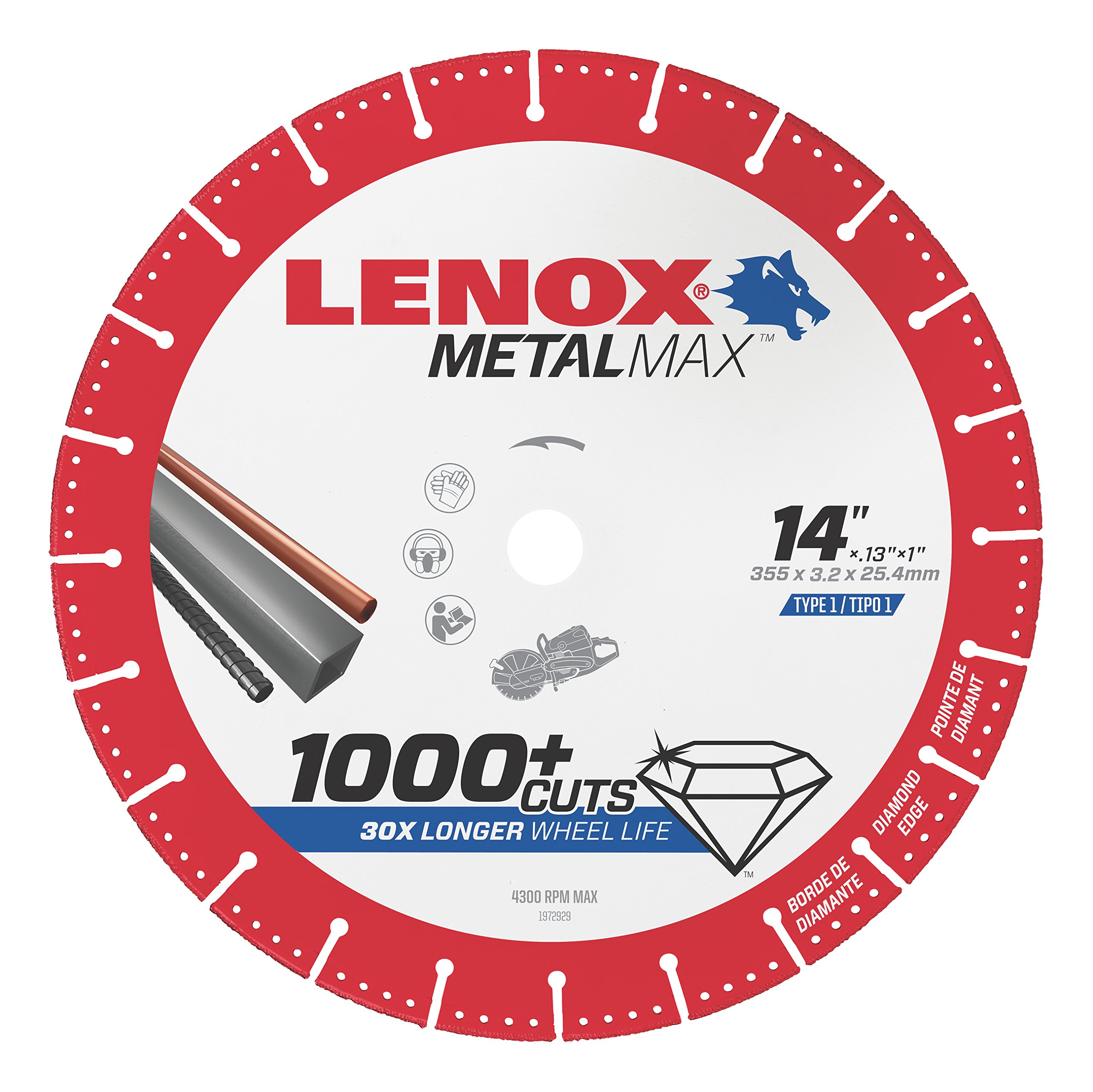 Lenox Tools 1972932 METALMAX Diamond Edge Cutoff Wheel, 14'' x 1''
