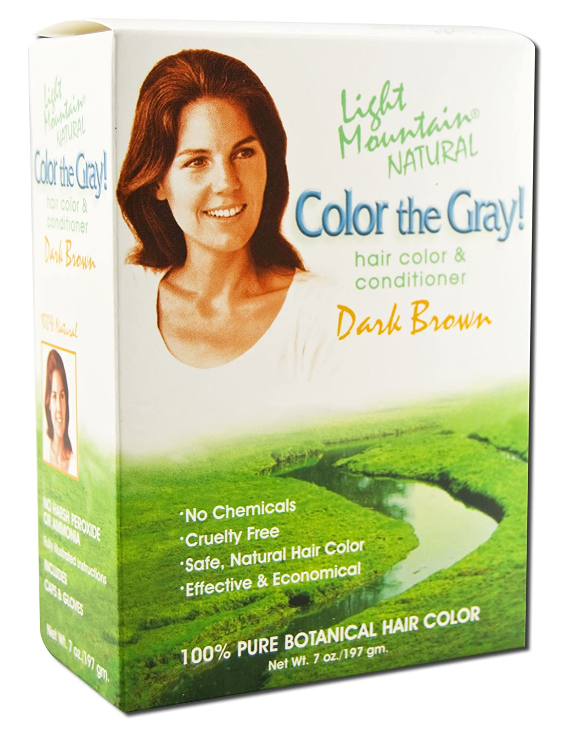 Amazon.com : Light Mountain Natural Color The Gray! Hair Color & Conditioner, Dark Brown, 7 oz, (Pack of 2) : Hair Hennas : Beauty