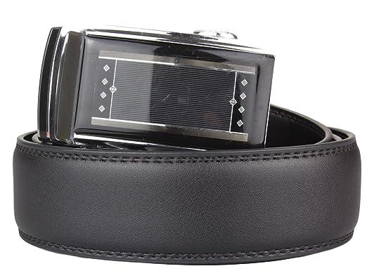 2Store24 Cinturón negro con hebilla automática para Hombre Cinturón de traje en negro Cinturon para Jeans