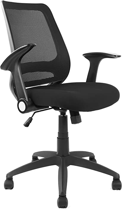 Mid-Back Ergonomic Office Chair Mesh Computer Desk Chair with Flip-up Arms Height Adjustable (Black)