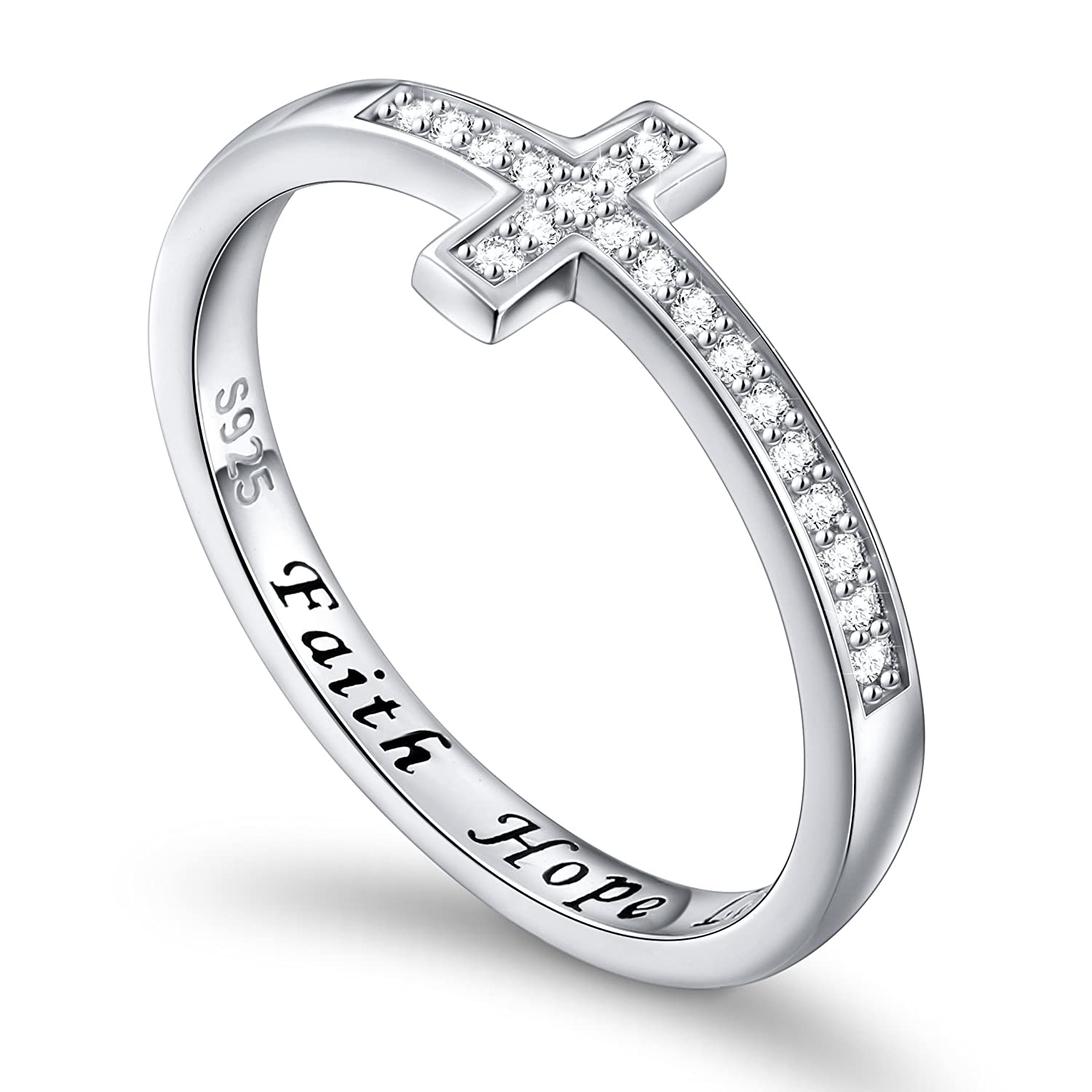 DAOCHONG Inspirational Jewelry Sterling Silver Engraved Faith Hope Love Sideway Cross Ring, Size 5-10 harmonyball jewelry