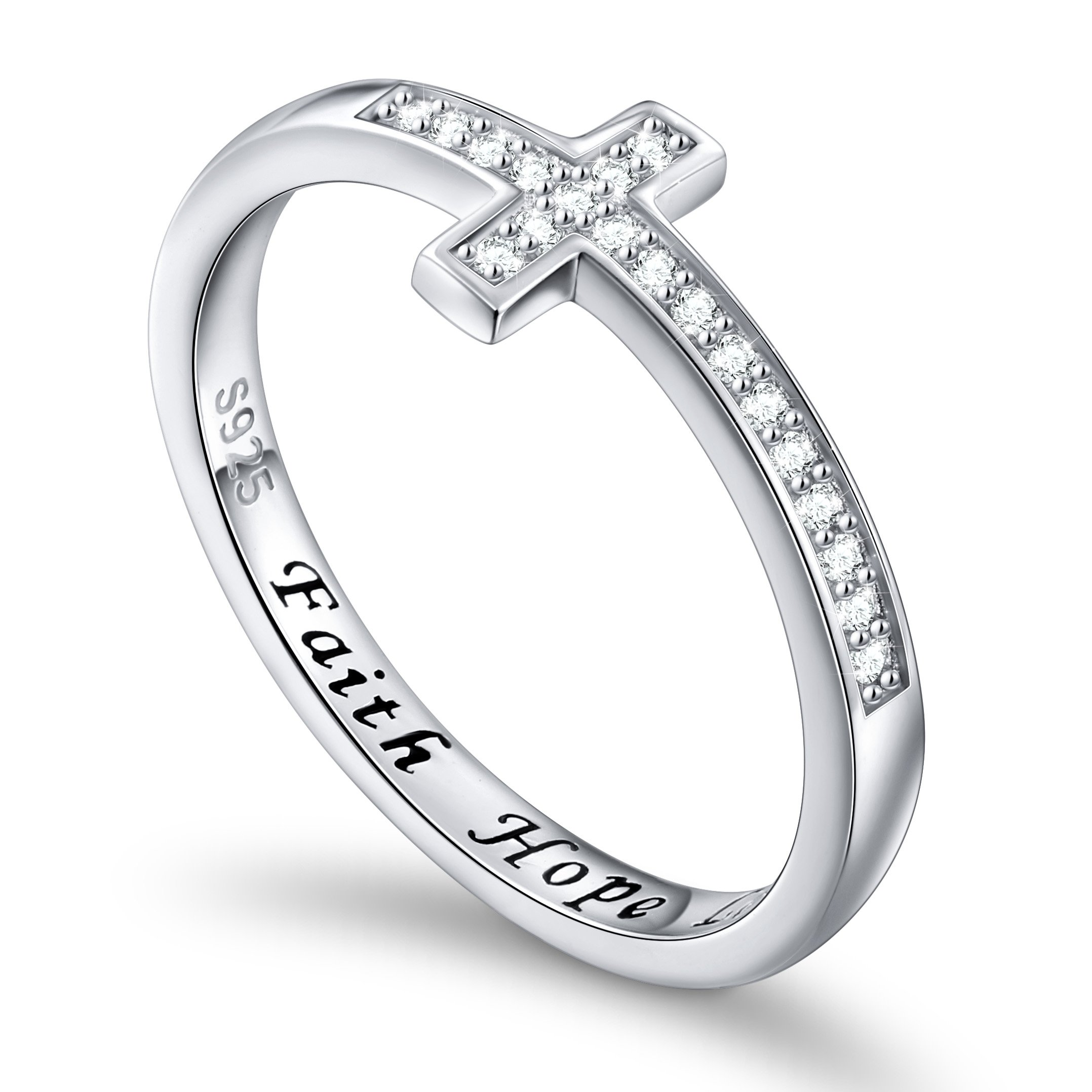 DAOCHONG Inspirational Jewelry Sterling Silver Engraved Faith Hope Love Sideway Cross Ring, Size 6 7 8 (9)