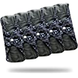 Heart Felt Reusable Cloth Menstrual Pads (5 Pack, Medium Flow) with Charcoal Absorbency Layer, Washable Sanitary Napkins, Overnight Long Panty Liners (Blue Lace)