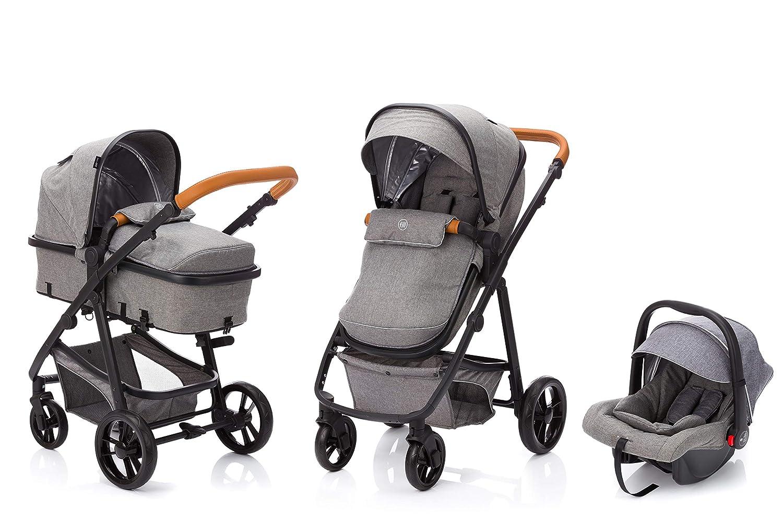 Multi Kinderwagen//Kombikinderwagen 3in1 mit Buggy /& Babyschale Fillikid fill Kinderwagen-Set Panther mit Babyschale Design:hellgrau