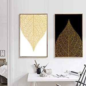 Modern Luxury Minimalist Abstract Picture Nordic Canvas Painting Wall Art Print Gold Leaves Poster for Living Room Home Decor-60x80cm 2pcs No Frame