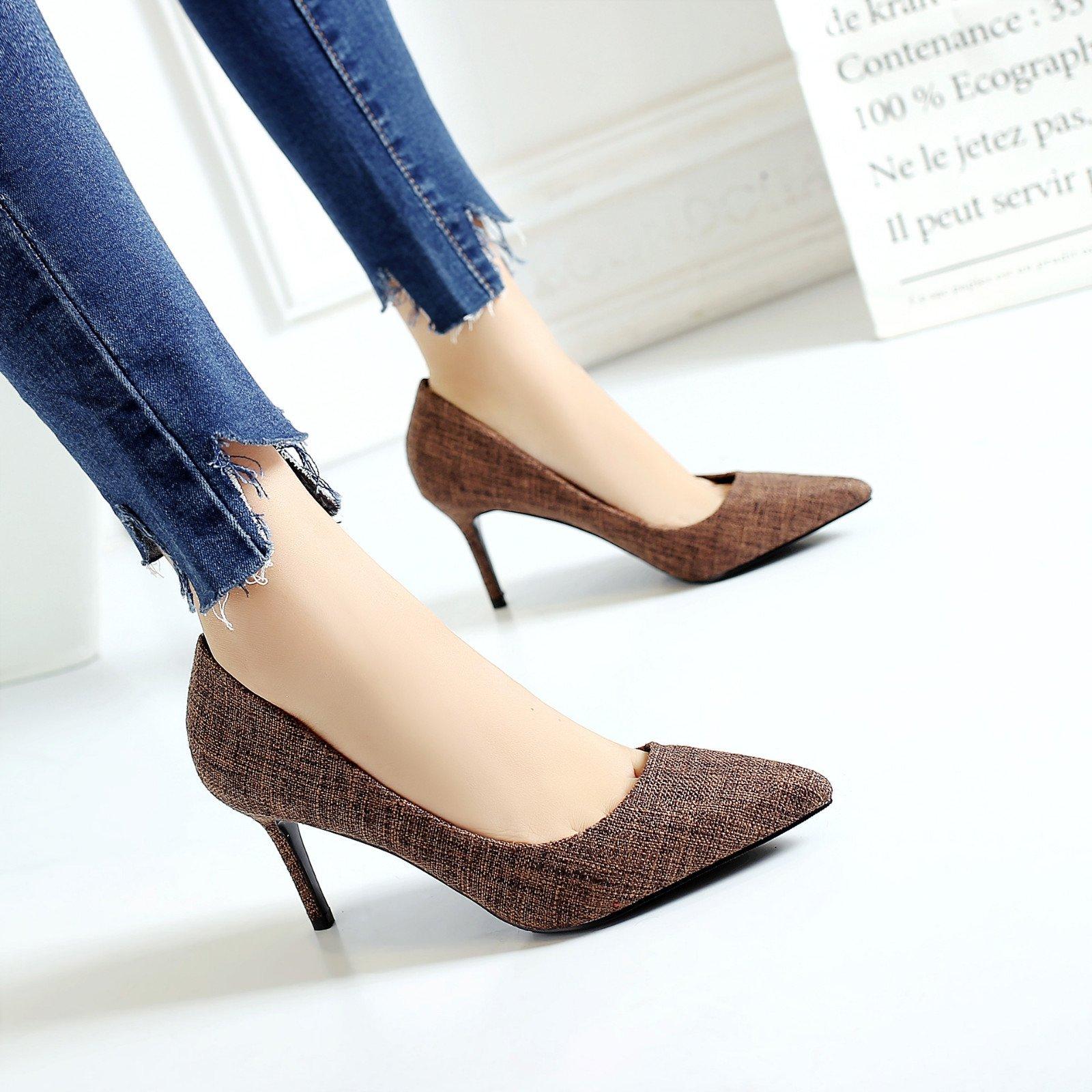High heel shoe tip burlap fine with high heel temperament shallow mouth, khaki, 34 by YLSZ-High heels (Image #2)