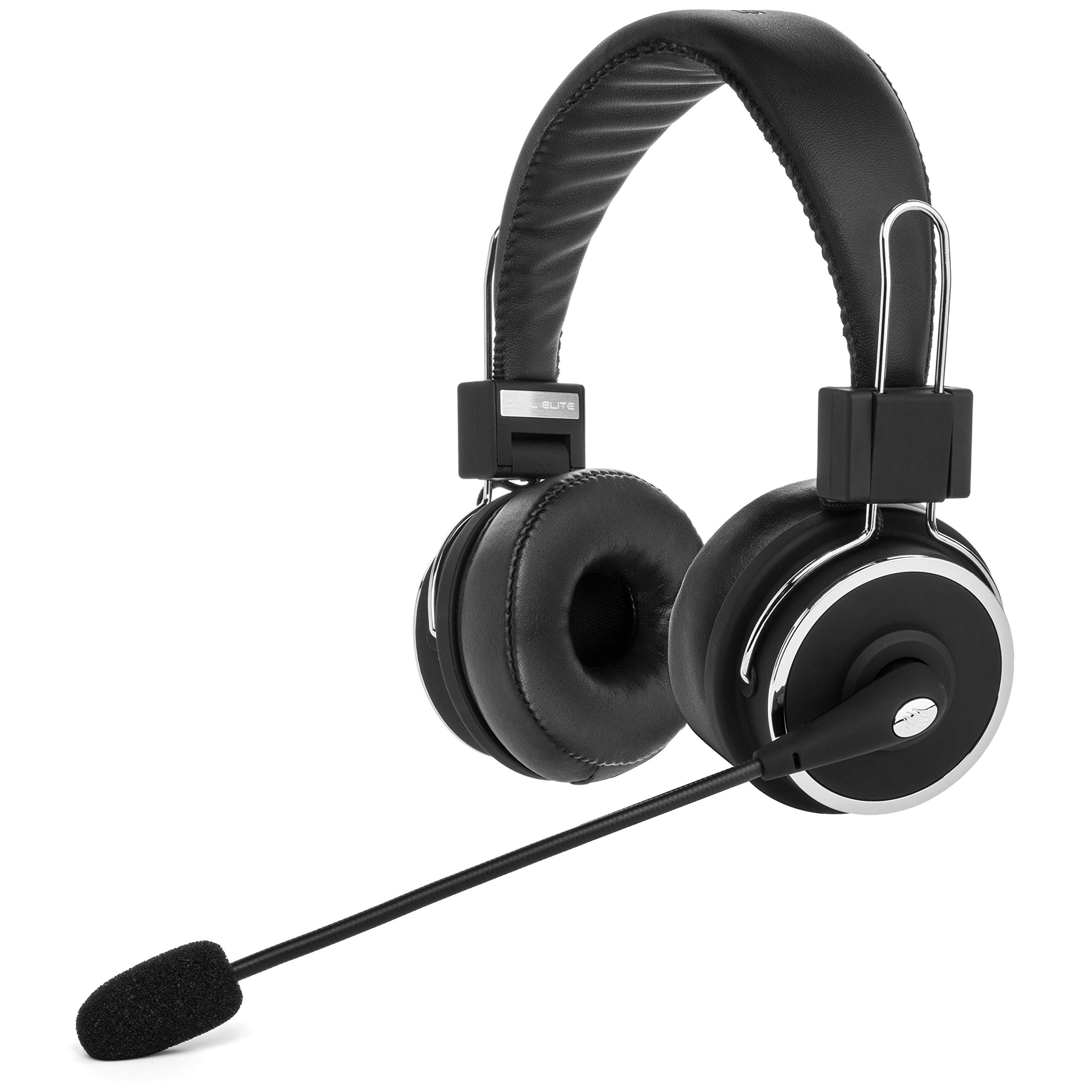 Blue Tiger Dual Elite Wireless Bluetooth Headset - Premium Noise Cancelling Headphones with No Wires - Ideal Driving, Gaming and Music Accessories - 50 Hour Talk Time - Black by Blue Tiger