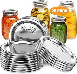 28 Pack Mason Jars Canning Lids Regular Mouth - Kerr Jars - Mason Jars Split-Type Jar Lids For Ball, Leak Proof Secure Canning Lids for Regular Mouth Mason Jars - Silver (Food Grade Material)