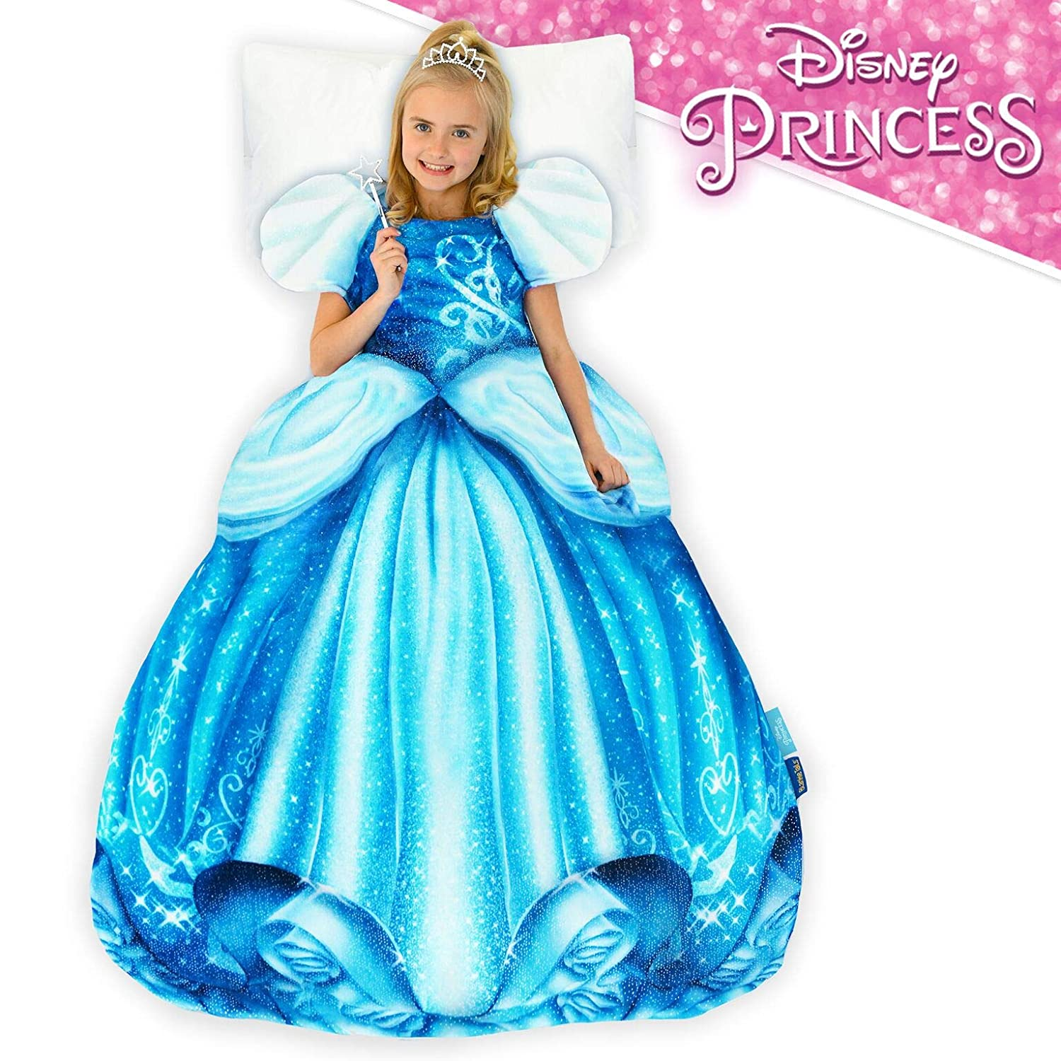 Blankie Tails Disney Princess Cinderella Dress Wearable Blanket Super Soft-Double Sided Minky Fleece for Kids- Climb Inside This Cozy Disney Princess Dress