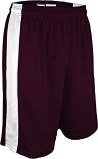 """product image for PT-6939-CB Adult Unisex Performance Dry Fit 9"""" Short with Side Panel, Odor Control (Large, Maroon/White)"""