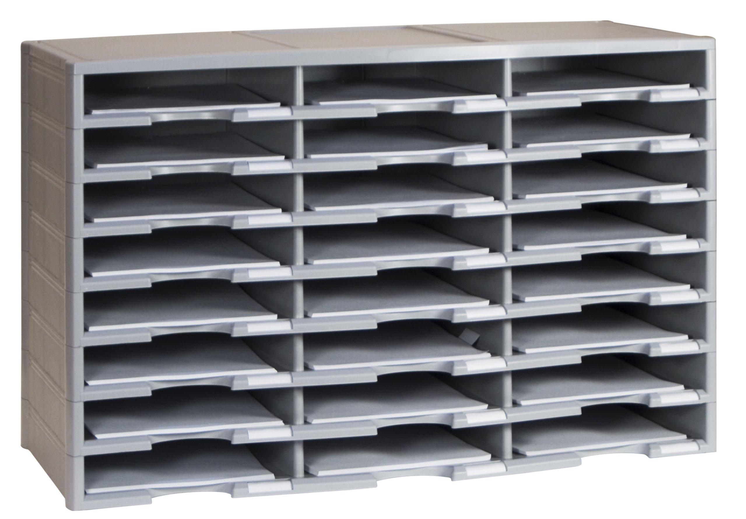Storex 24-Compartment Literature Organizer, 31.38 x 14.13 x 20.5'', Gray (61434U01C)