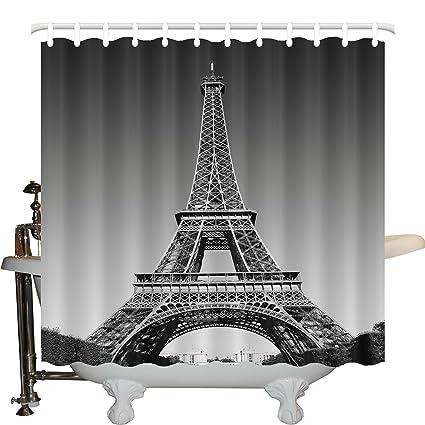 JLBB Paris Shower Curtain Eiffel Tower Decor Landmark And Monochrome Picture Of Cityscape Design Theme