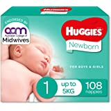 Huggies Newborn Nappies, Unisex, Size 1 (Up To 5kg), 108 Count, (Packaging May Vary)