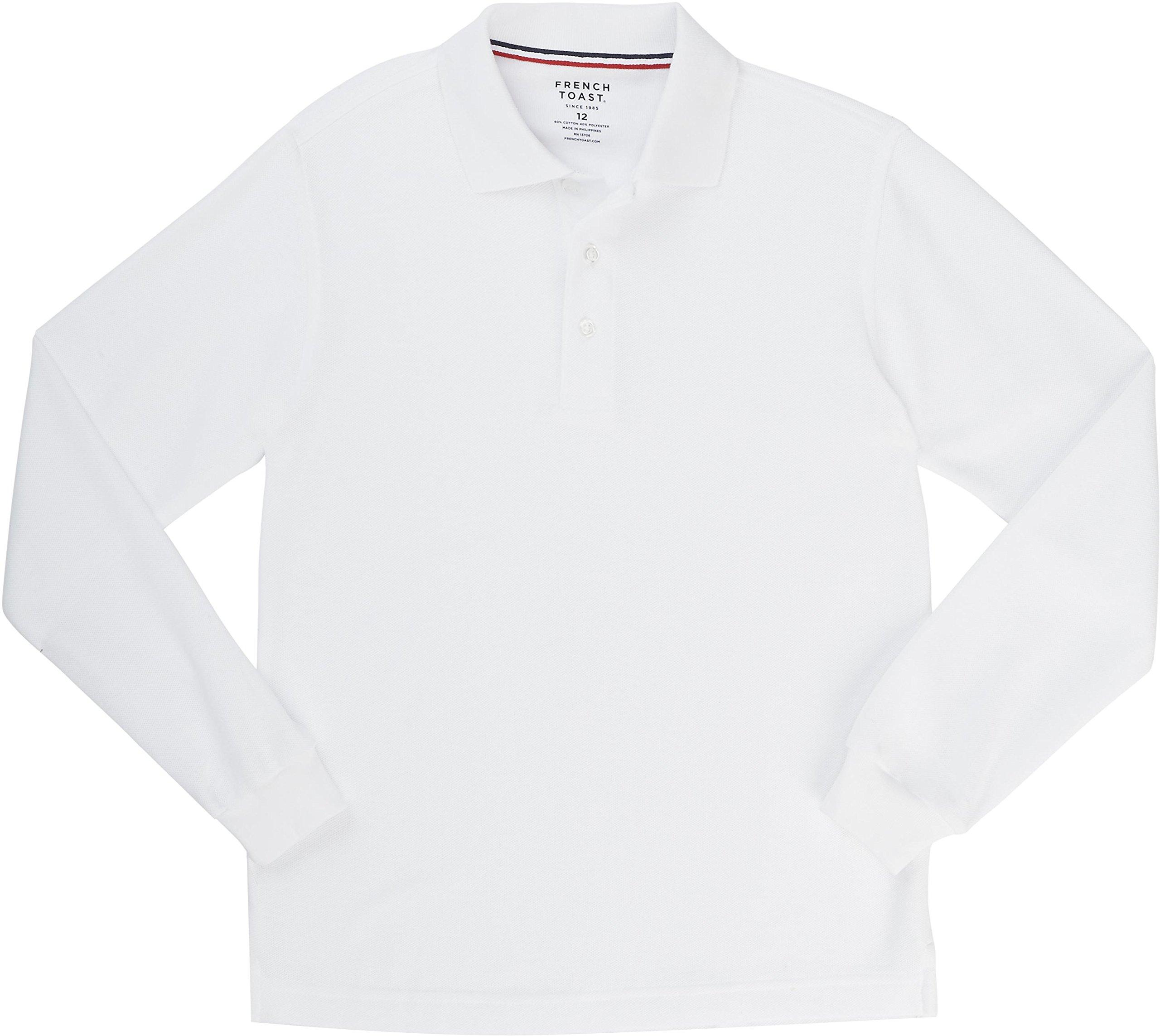 French Toast School Uniform Boys Long Sleeve Pique Polo Shirt, White, Small (6/7)
