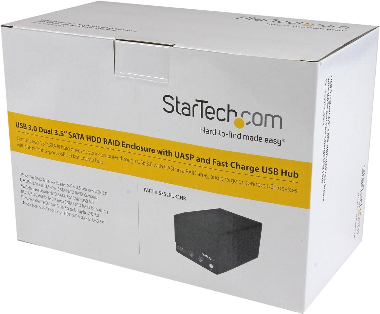 StarTech.com S352BU33HR - Caja USB 3.0 para Discos Duros con 2 bahías SATA III de 3.5