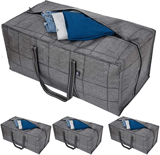 Blankets XL Moving Bags Totes for College Moving,Cloth Storage Bags for Clothing Storage Comforter 4 Packs Compatible with IKEA Frakta Cart Heavy Duty Extra Large Storage Bags with Zippers