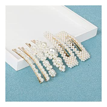 2224e8e07d3ae ANNEEZ 1 Set ABS Pearl Hair Clips Women Hair Barrette Fashion Hairpins  Trendy Handmade Hair Accessories