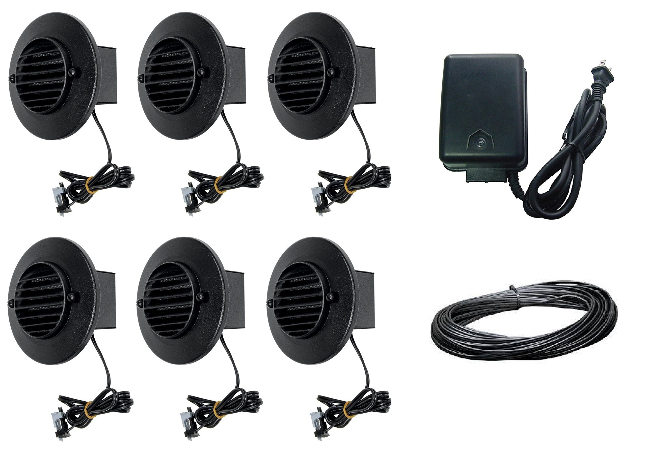 8 Piece Malibu Lighting Kit LED Deck Step Round Surface Lights Low Voltage with Black Finish + 45 watt Transformer + 50 ft landscape wire. BY MALIBU DISTRIBUTION