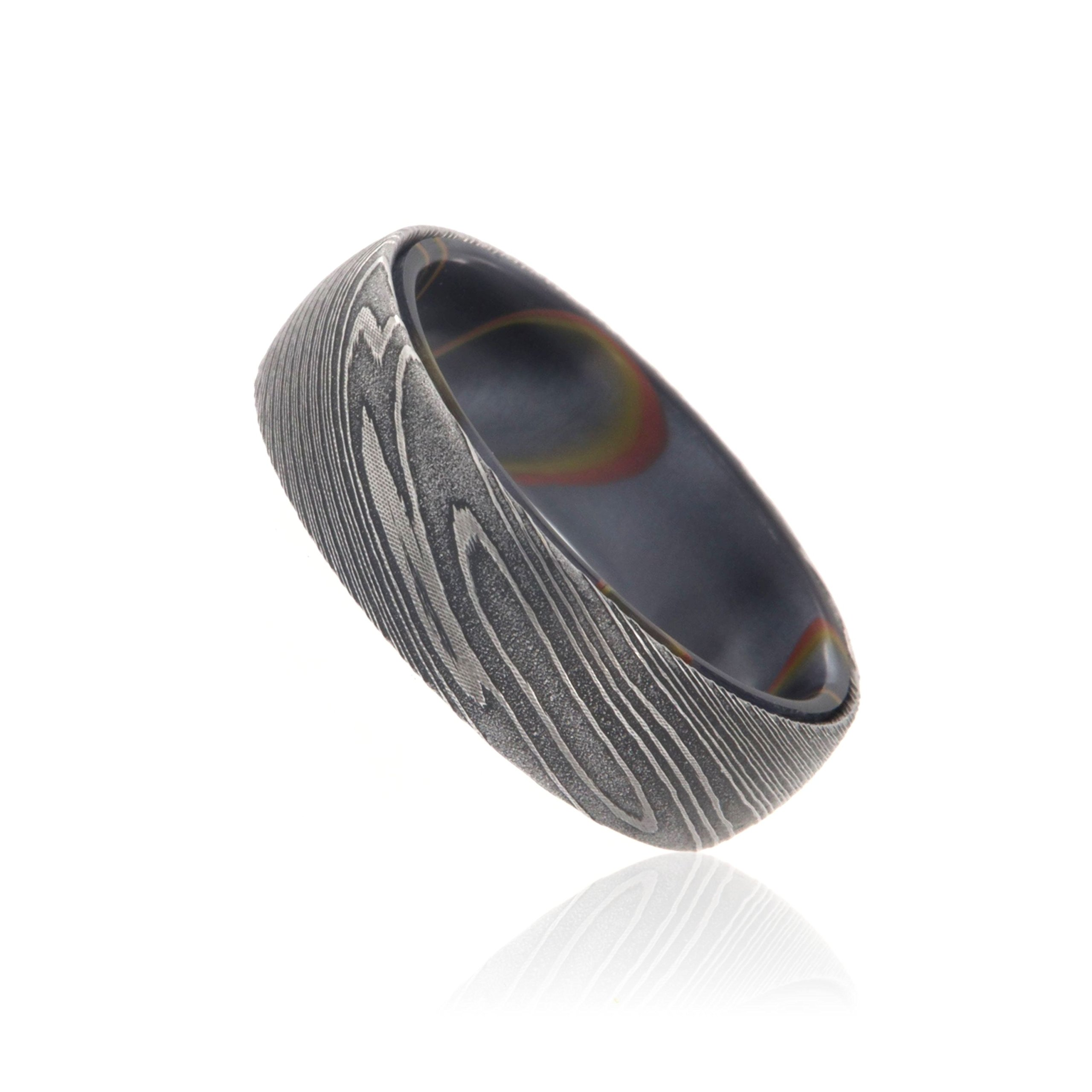 7mm Wide Damascus Steel Ring Beautifully Etched Damascus Steel Bands Wedding Rings with a Purple Resin Sport Sleeve