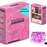 MANSAA® USB String Lights for Decoration 10M 100 LED USB Powered (Indoor, Outdoor, Kids Room, Diwali, Christmas, Balcony) Made in India, Pink Light, (Pack of 1-10 Meter)
