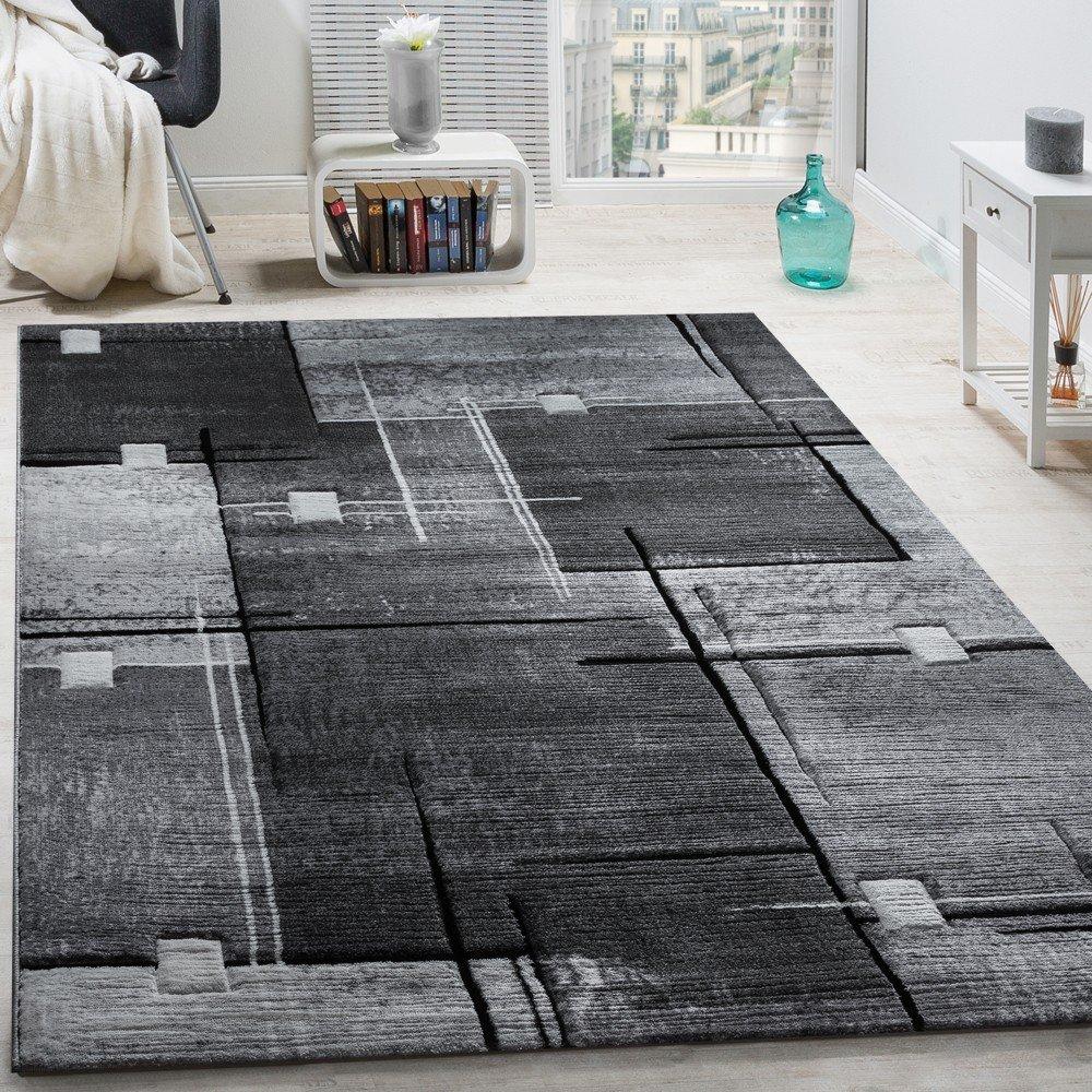 Paco Home Designer Teppich Konturenschnitt Abstrakt Karo Linien Grau Schwarz Meliert, Grösse 200x290 cm