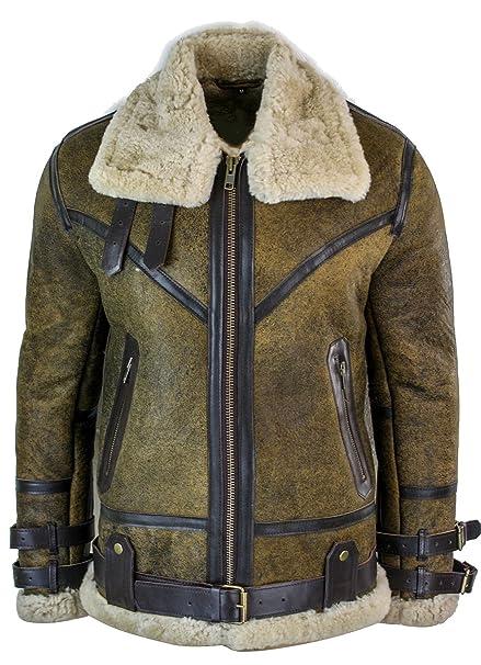 Infinty Giacca Marrone da Uomo in Vera Pelle di Montone Sherling Stile  Vintage Vichingo Marrone  Amazon.it  Abbigliamento c99c294166a