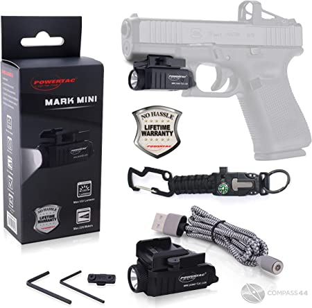 PowerTac Mark Mini Luminator - 550 Lumen Compact, Multi-Platform Compatible, Rechargeable Rail Mount Weapon Light with 226 Meter Highly Focused Beam Distance & Compass 44 8-in-1 Tactical Keychain