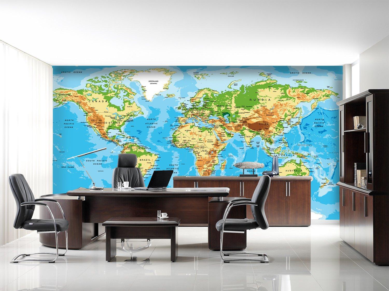 3D Creative World Map 6 Wall Paper Wall Print Decal Wall Deco Indoor Mural Lemon