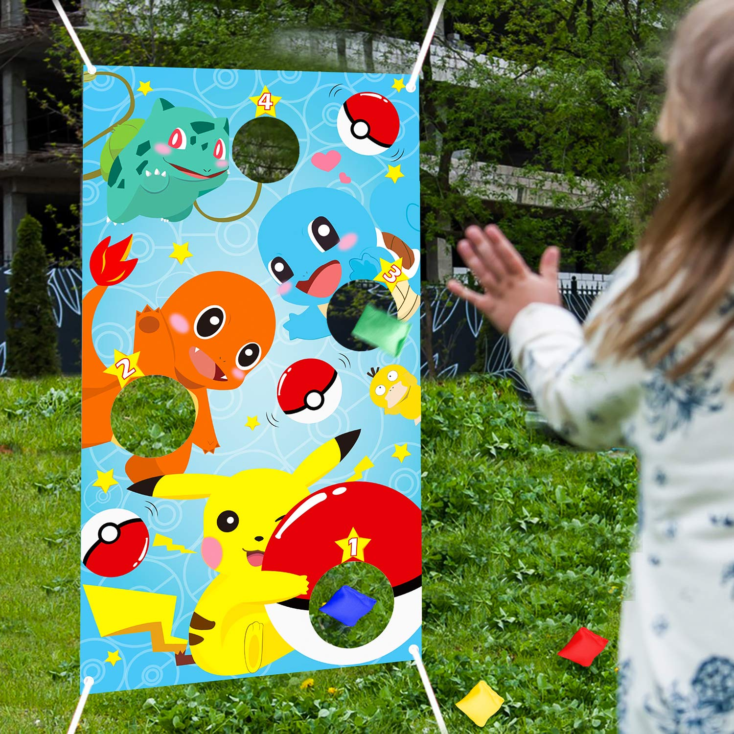PANTIDE Cartoon Toss Games with 4 Bean Bags, Cartoon Indoor Outdoor Throwing Game Party Supplies for Kids and Adults, Carnival Games Toss Games Banner for Video Game Theme Birthday Party Decoration