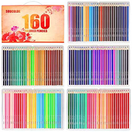 Amazon.com: Soucolor 160 Colored Pencils Set Artist Drawing Coloring ...