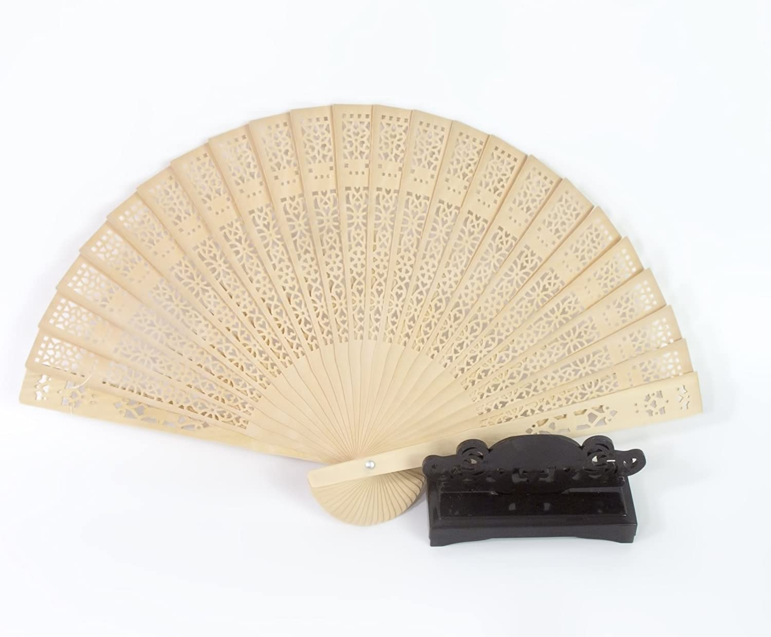 All In One Chinese Scented Wooden Hand Held Folding Fans for Craft Home Wedding Party Event Decoration, Gifts (1pc with Fan Holder)
