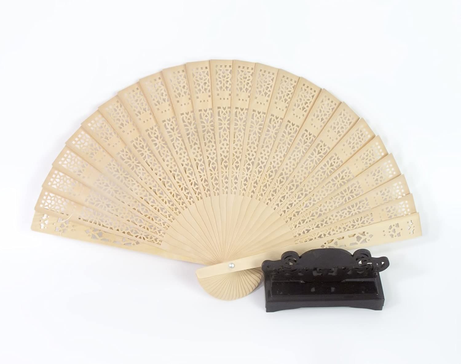 All In One Chinese Scented Wooden Hand Held Folding Fans For Craft Home Wedding Party Event Decoration Gifts 1pc With Fan Holder