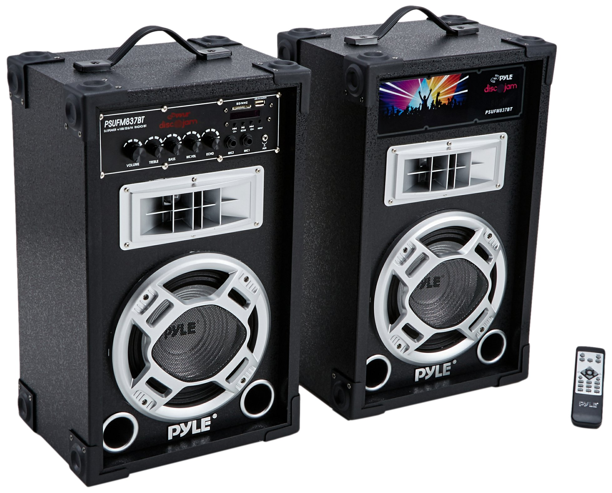 Pyle Dual 800 Watt Powered PA Bluetooth Speaker System Disco Jam Two-Way DJ Speakers | karaoke machine  | USB/SD Card Readers, FM Radio, 3.5 mm AUX Input (Active & Passive Speakers)(PSUFM837BT)