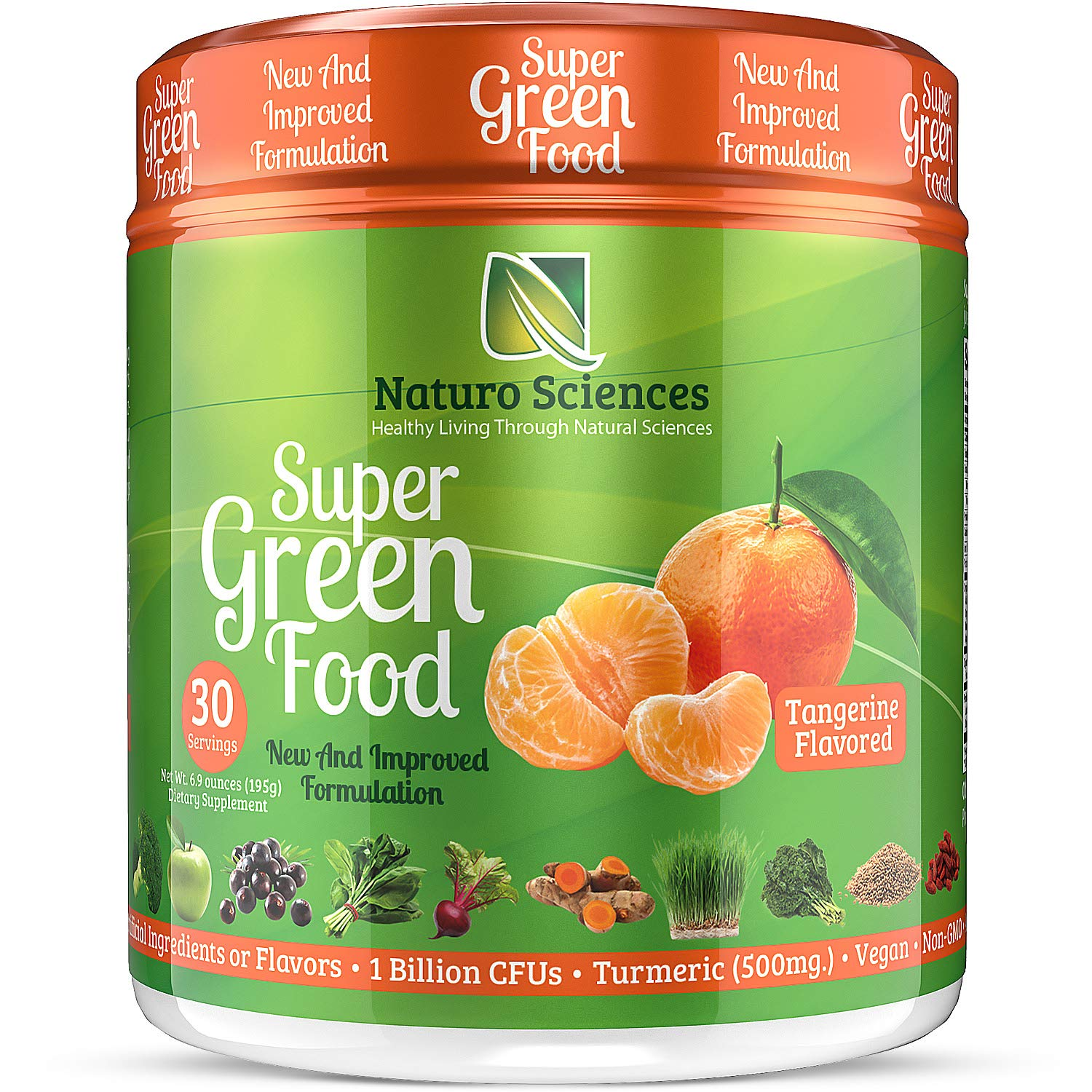 100% Natural Greens Powder, Over 10 Hard to Get Superfoods, Greens Supplement Powder 1 Month's Supply, Green Organic Blend with 1 Billion CFU Probiotics and 500mg Turmeric, Tangerine Flavor, 30 Svgs.