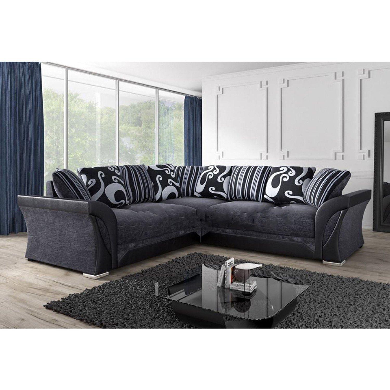 New farrow leather chenille fabric corner sofa in black grey new farrow leather chenille fabric corner sofa in black grey amazon kitchen home parisarafo Gallery