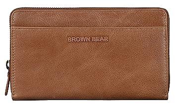 ab494eef4f117 Brown Bear Geldbörse Damen Leder Braun lang groß viele Fächer mit RFID  Blocker Schutz   Reißverschluss