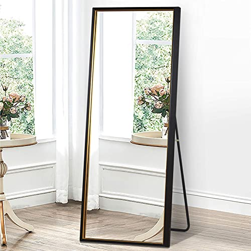 PexFix 65 x22 Floor Full Length Mirrors Standing Hanging or Leaning Mirror Color Blocking Geometric Framed Largr Mirror Wall Mounted Mirror Black Mirror