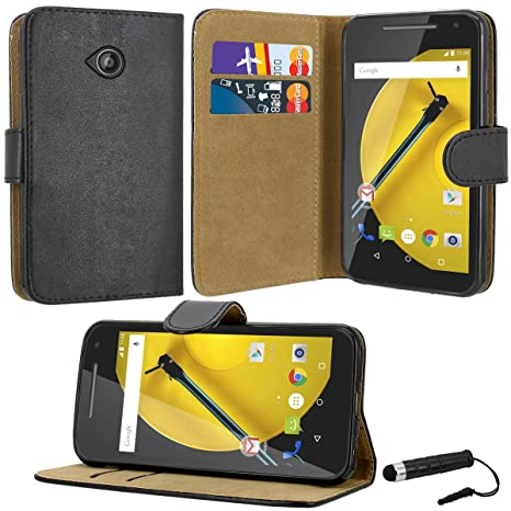 promo code 49a29 4dfb8 Case Collection Premium Leather Folio Cover for Motorola Moto E 2nd Gen  Case Closure Full Protection Book Design Wallet Flip with [Card Slots] and  ...