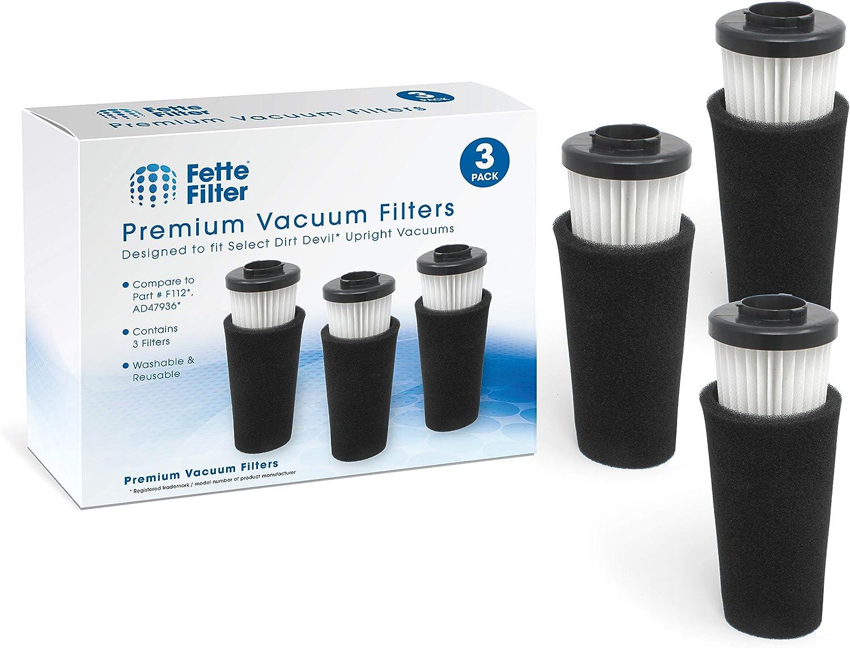 Fette Filter - Pre Motor Odor Trapping Filter & Inlet Filter Set Compatible with Dirt Devil Endura. (F112. Pack of 3)