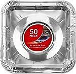Gas Burner Liners (50 Pack) Disposable Aluminum Foil Square Stove Burner