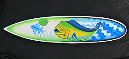 Pescado Surf 100 cm Decoración con peces diseño Mare Mar Tabla de Surf Oro Caballa