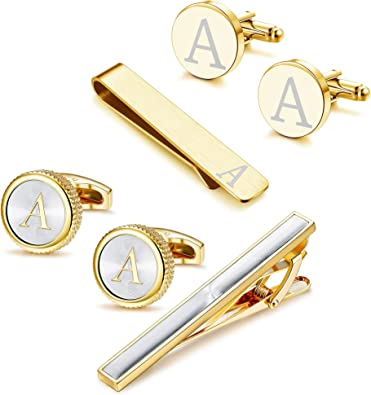 Thunaraz Cufflinks Tie Bar Clip Set Initials Alphabet Letter Cufflinks for Business Wedding with Gift Box A-Z