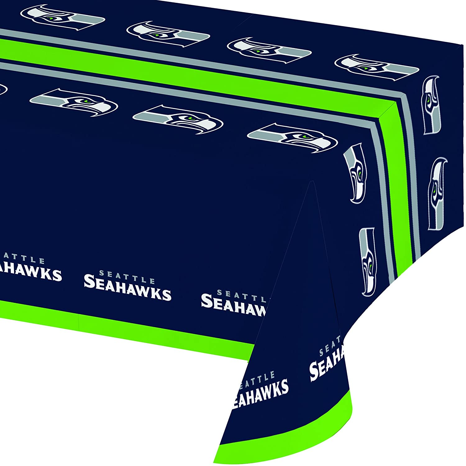 Creative Converting Officially Licensed NFL Plastic Table Cover, 54x102, Seattle Seahawks