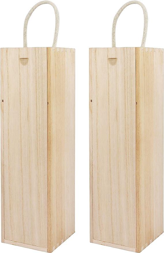Belle Vous Caja de Madera para Vino (Pack de 2) - 34,8 x 9,6 x 9 ...