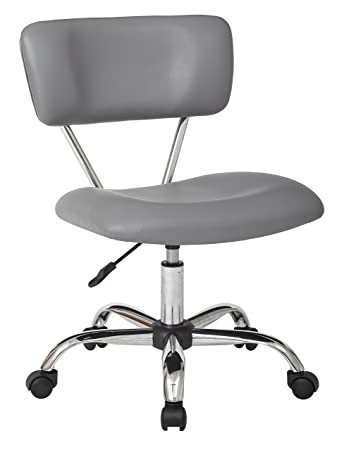 AVE SIX Vista Faux Leather Seat and Back Task Chair with Chrome Accents, Grey